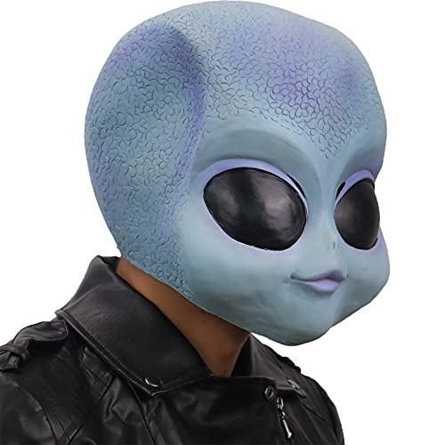 ifkoo Cute Realistic Alien Baby Latex Head Mask Alien Halloween Costume Party Prop for Adults (Alien) Blue