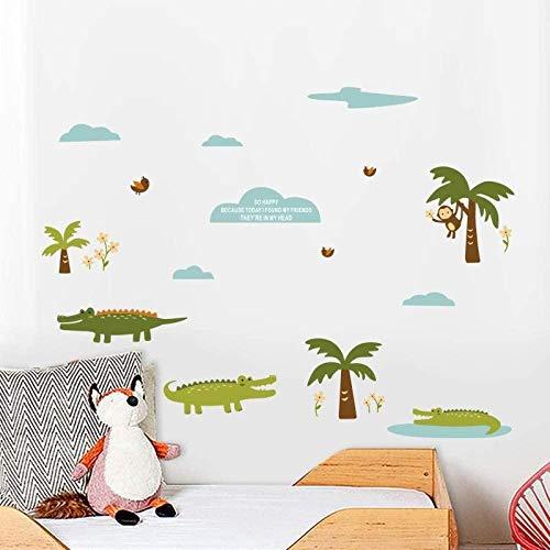 YFKSLAY Niedliches Tier Krokodil AFFE Wandaufkleber Pflanze Kokosnussbaum Kinderzimmer Wohnzimmer Schlafzimmer PVC Selbstklebendes Papier 20X60CM DIY