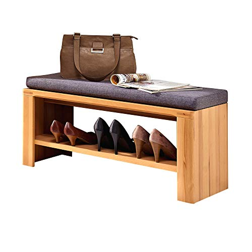 Nature Plus Schuhbank mit Sitzfläche teil-massiv aus Kernbuchenholz - bequeme Sitzbank mit Stauraum für Ihren Flur - 90 x 40 x 38 cm (B/H/T)