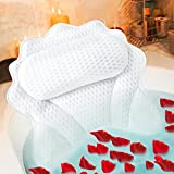 Bath Pillows for Tub,Bath Pillow,Ergonomic Bathtub Spa Pillow with 4D Air Mesh Technology and 6 Suction Cups Helps Support Head Back Shoulder and Neck Fits All Bathtub Hot Tub Jacuzzi…