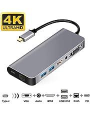 USB C HDMI VGA変換 USB Type C ハブ HDMI 7in1マルチドック USB C有線LAN 変換アダプター USB-C HDMI LAN 1000Mbps対応 USB3.1type-c to 3.5mmオーディオ/PD充電/RJ45/HDMI 4K/VGA/USB3.0*2