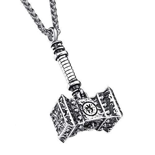 LYN&xxx Herren Halskette Edelstahl, Viking Warhammer Anhänger Sterling Gold Hammer Seil Halskette Geschenk Für Männer Mit Kette,Silber,B