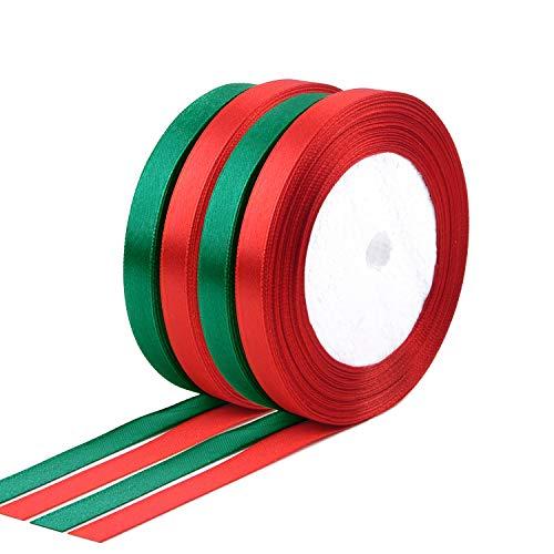FEPITO 4 Pcs 10mm Rojo Verde Cinta de raso Cinta de Navidad para envolver regalos Cinta de Navidad para manualidades (2 rojos, 2 verdes)