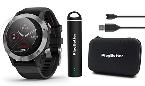 Garmin Fenix 6 (Silver with Black Band) Power Bundle with HD Screen Protectors, PlayBetter Portable Charger & Protective Hard Case | PulseOx, ClimbPro, Maps, PacePro, Spotify, Music