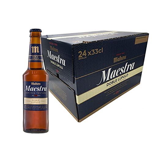 Mahou Maestra Doble Lúpulo Cerveza Lager Tostada - Pack de 24 Botellas x 33cl - 7,5% Volumen de Alcohol