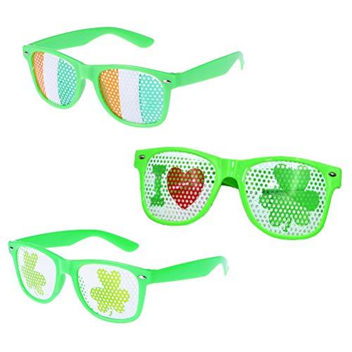 3 peças de óculos divertidos de trevo de Dia de São Patrício da PretyzOOM (colorido, amor, trevo) adereços para cabine de fotos de festa