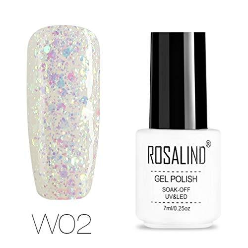 ROSALIND Esmalte semi-permanente de uñas de gel con purpurina de diamante, pintura de...