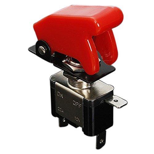 Sodial - Interruptor de palanca con tapa y LED para coche, 12V - 20A, con palanca on/off, SPST, color rojo