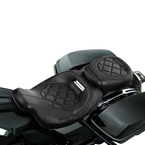 XMT-MOTO Motorcycle Parts Driver & Passenger Seat For Harley Touring Road King reet Glide Electra Glide Road Glide 2009-2020,Black