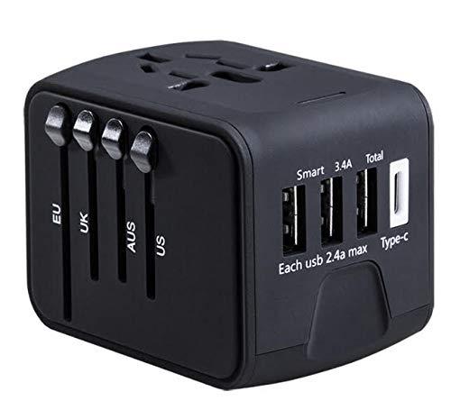 Adaptador de corriente universal de viaje Reino Unido, Estados Unidos, UE, AUS China Japón, 200 países con 3 puertos USB y 1 tipo C para iPhone, iPad, Samsung, LG, teléfonos móviles, cámaras