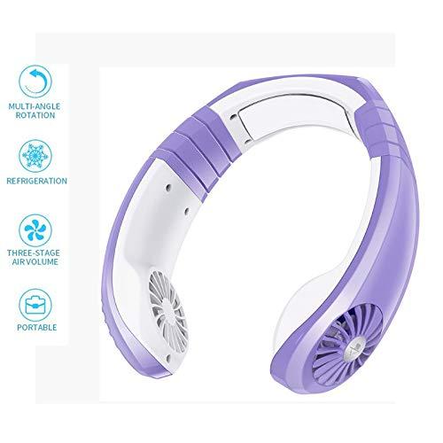 Ventilador Cuello Portatil USB Recargable Mini de Manos Libres, 3 velocidades 1800 mAh, rotación Libre de 45 °, para Viajes Interior Exterior,Púrpura