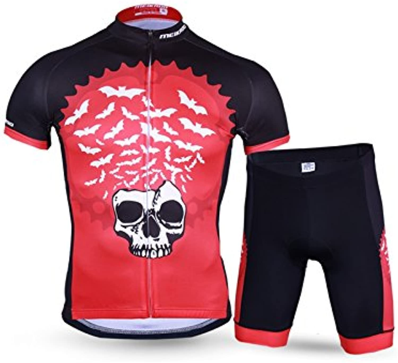 ADream Herren Radsportbekleidung Set Atmungsaktiv Schnell Trocknend Kurzarm Trikot Shirt  3D Shorts Schwarz-Rot XL B07HG23QVQ  Gewinnen Sie hoch geschätzt