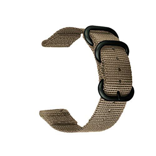 Zuluベルト 18mm時計バンド ナイロン製 ブラックバックル ミリタリ 替えバンド スマ トウォッチ ストラップ交換ベルト ベ ジュ