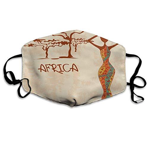 Mundschutz Vintage Afrika thematische Illustration schlanke Indigene Mädchen Figur Bunte Kleid Druck Mundabdeckung Gesicht Abdeckung für Erwachsene Kinder