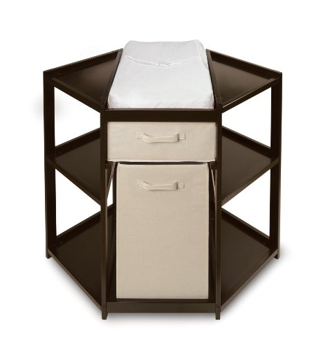 Diaper Corner Baby Changing Table with Pad, Hamper and Basket