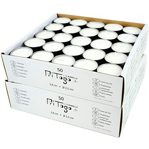 Pritogo Teelichter, Weiss [100 Stück] Ø 3,8 * 2,5 cm, Rußfrei, Brenndauer: 8 Stunden