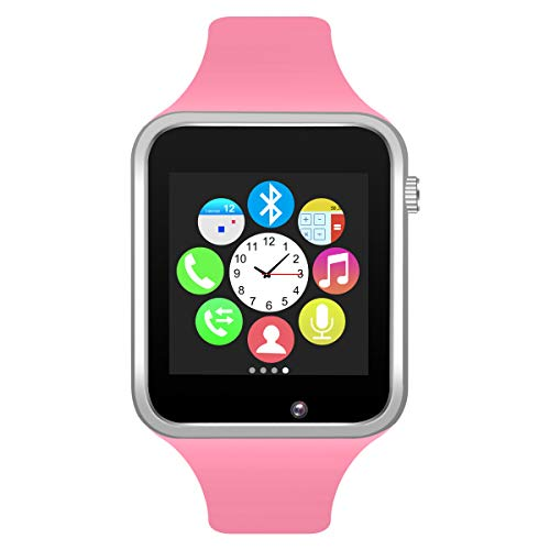 Padgene Bluetooth Smartwatch,Touchscreen Wrist Smart Phone Watch Sports Fitness Tracker with SIM SD Card Slot Camera Pedometer Compatible with iPhone iOS Android for Kids Men Women (Pink)