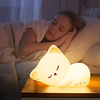 Cute Kitty Kids Night Light Cat Kawaii Birthday Gifts Room Decor Bedroom Decorations for Baby Toddler Teens Girls Boys Children LED Color Changing Animal Portable Squishy Silicone Lamp-Tap Control
