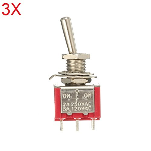 ILS–3Pieces Red Toggle Switch DPDT On Off On 6pins 3Posición 5A 120VAC/2A 250VAC
