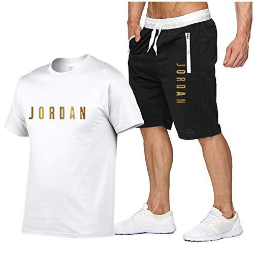 BJZX Jordan No.23 Sport Sport Shirt and Shorts Set, Chándal Informal para Hombre Manga Corta Correr Correr Baloncesto Atlético Deportes Camisetas y Pantalones Cortos Traj White-XXL
