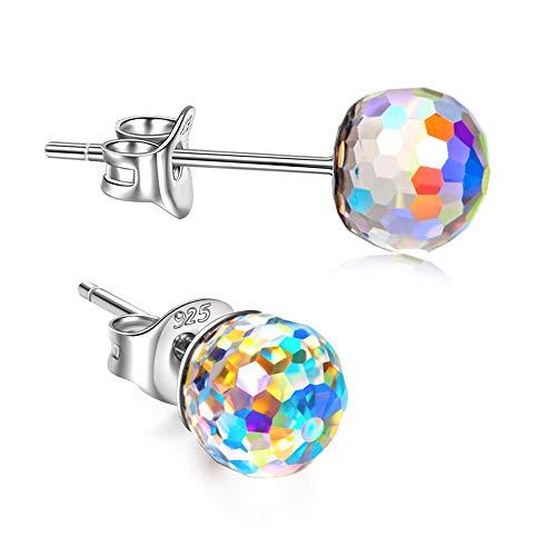 Infinito U-♥ Gotas de Frutas ♥ Pendientes de Plata de Ley 925 Aurora Boreal con Cristal de Swarovski la mejor opción para el Día de la Madre