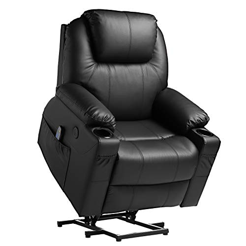 TITIMO Power Lift Recliner Chair PU Leather for Elderly with Massage Heat Ergonomic Lounge Chair Single Motorized Sofa for Living Room with Remote Control USB Port Cup Holders Side Pockets (Black)