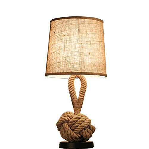 Lying Hemp Table Lamp, Retro Lamp Single Head Bedroom Bedside Lamp Bar Decoration Eye Care Study E27 find (Color : A)