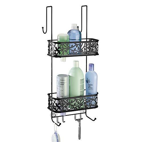 mDesign Duschablage zum Hängen über die Duschtür – praktisches Duschregal ohne Bohren zu montieren – Duschkörbe zum Hängen aus Metall für sämtliches Duschzubehör – mattschwarz