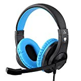 TURN RAISE Professional 3.5mm PC LED Light Gaming Bass Stereo Noise Isolation Over-Ear Headphones Earphones w/Microphone, Volume Control for Sony PS4 Laptop Computer (Dark Blue)
