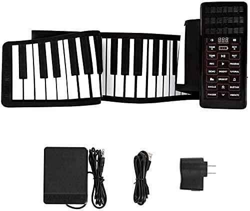 InLoveArts Mano Roll Up Piano elettronico portatile 128 suoni eccellenti, 128 ritmi, doppia alimentazione, supporto per tastiera elettronica per pianoforte MIDI e Bluetooth