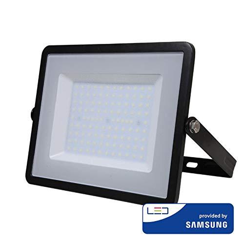V-TAC VT-100 LED Flutlicht Samsung Chip, 6400K, 8000lm, IP65, 100 Watt, A+, Die Cast Aluminium, W, schwarz, 100W