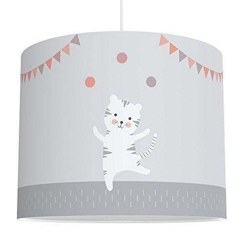 LALAVI Lampenschirm fürs Baby- und Kinderzimmer (Ø 40 cm) - Für Deckenlampe oder Stehlampe - Mit Liebe hergestellt in Deutschland (Grau-Rosa)