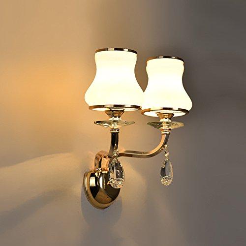 JJZHG Wandlamp, waterdichte wandverlichting, voor thuis, slaapkamer, bedhoofd, dubbele kristallen wandlamp, creatieve trap, woonkamer, tv-kast, decoratieve wandlamp, wandlamp