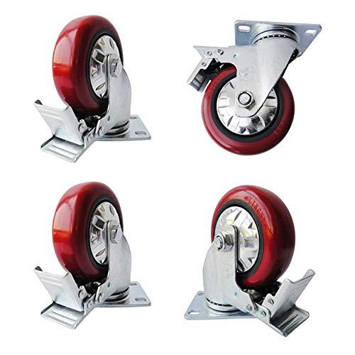 Universele wieltjes 4 inch bewegende parkeerremmen Silentes polyurethaan autowiel, slijtvast PU-stuurwiel, diameter 100 mm, enkele belasting 110 kg