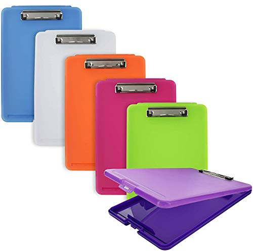 Emraw Plastic Translucent Clipboard Pack with Storage Case Box Letter Size Paperboard Assorted Colored Hardboard Set Low Profile Clip, Wall Mount Clip Boards, 6 Pack for Students, School, and Office