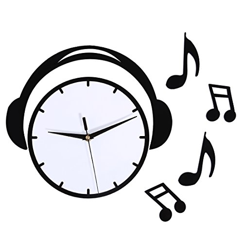 Foxom Reloj De Pared Moderno, Creativo de música Auriculares Diseño Moderno Reloj de Pared Nivel de los según los acrílico Pared Reloj Relojes sin tickge räusche