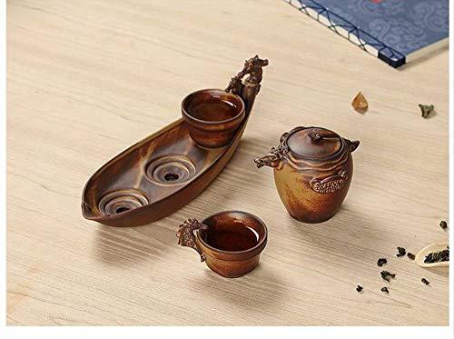 QCCOKNN El Juego de té de cerámica Gruesa Incluye 1 Tetera, 2 Tazas de té, 1 Bandeja de té, Tetera y hervidor de Agua