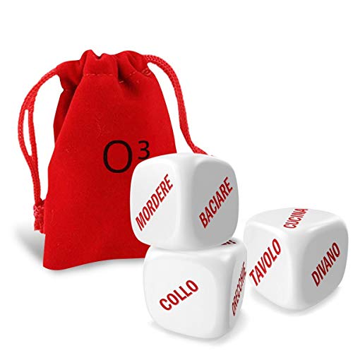 O³ Giochi di Coppia - Serate Flirt Grazie ai Dadi Lola Red - 100% in Italiano - Set di 3 Daddi + Saccheto + EBook - Colore: Rosso e Bianco - Completamente in Italiano