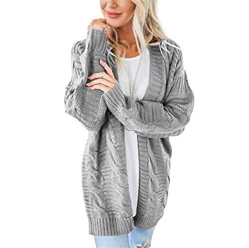 SMTM Herbst und Winter Damen Jacke Twist Cardigan Solid Color Mittellanger Thick Line...