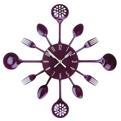 Premier Housewares - Reloj de pared, diseño de cubiertos, color morado