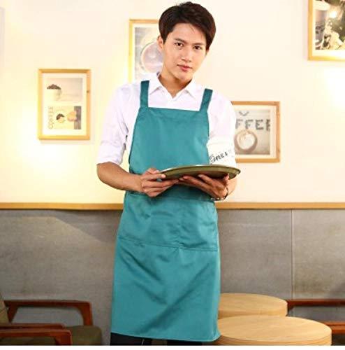 JJFU kookschort keuken koffie melk thee nagellak katoen schort vrouwen druk dames Age-Peacock Blue Men_Fit voor 150-170 cm