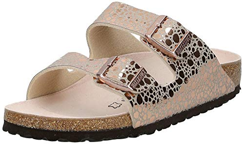 BIRKENSTOCK Damen Arizona Birko-Flor Sandalen, Braun (Metallic Stones Copper Metallic Stones Copper), 35 EU