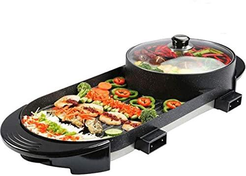 Caja fuerte Fondue Fryers Fryers Parrilla eléctrica Pote caliente interior, temperatura doble separada Contralina, Capacidad para 3-9 personas, Capacidad de gran capacidad Multifuncional Multifunciona