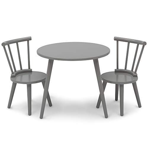 Delta Children Homestead Kids Table & 2 Chairs Set - Ideal for Arts & Crafts, Grey