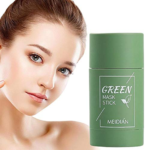 Green Tea Purifying Clay Face Mask Stick Deep Cleansing Oil Control Anti-Acne Solid Mask, Eggplant Hydrating Blackhead Remover Facial Mask Repair and Shrink Pores(verde)