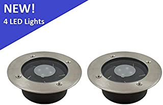 (2 Pack) Solar 4 White LED Round Recessed Deck Dock Patio Light