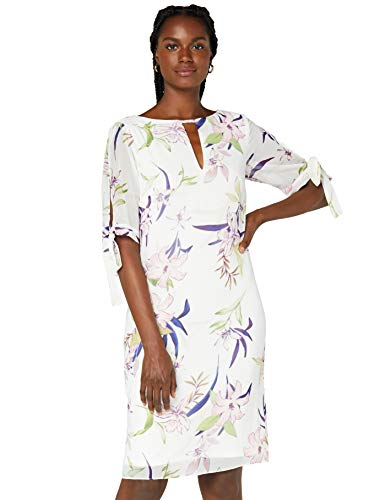 Amazon-Marke: TRUTH & FABLE Damen Chiffon-Kleid mit A-Linie, Mehrfarbig (White Lily Print), 34, Label:XS