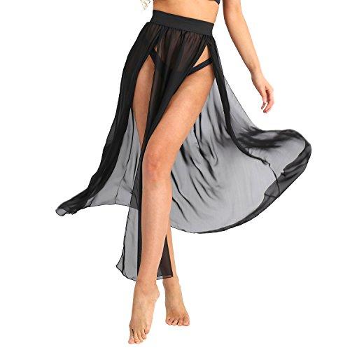 FEESHOW Damen Strandrock Chiffon Transparent Cover up Bikini Strandkleider Boho Sommerkleider mit Schlitz lang Beachwear Schwarz Medium