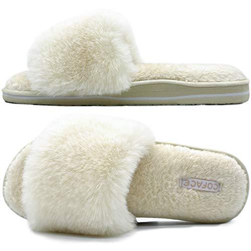 Coface Zapatillas de Estar Mujer Invierno Zapatos de Casa Tallas 42 Antideslizante Cálidos Cómodos Invierno Felpa Pantuflas de Casa Planos Verano Sandalias Espuma de Memoria Women Slippers