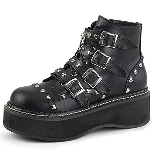MeiLuSi Botas de combate con plataforma para mujer con hebilla y tachuelas góticas punk, color negro, Poliuretano negro, 38 EU